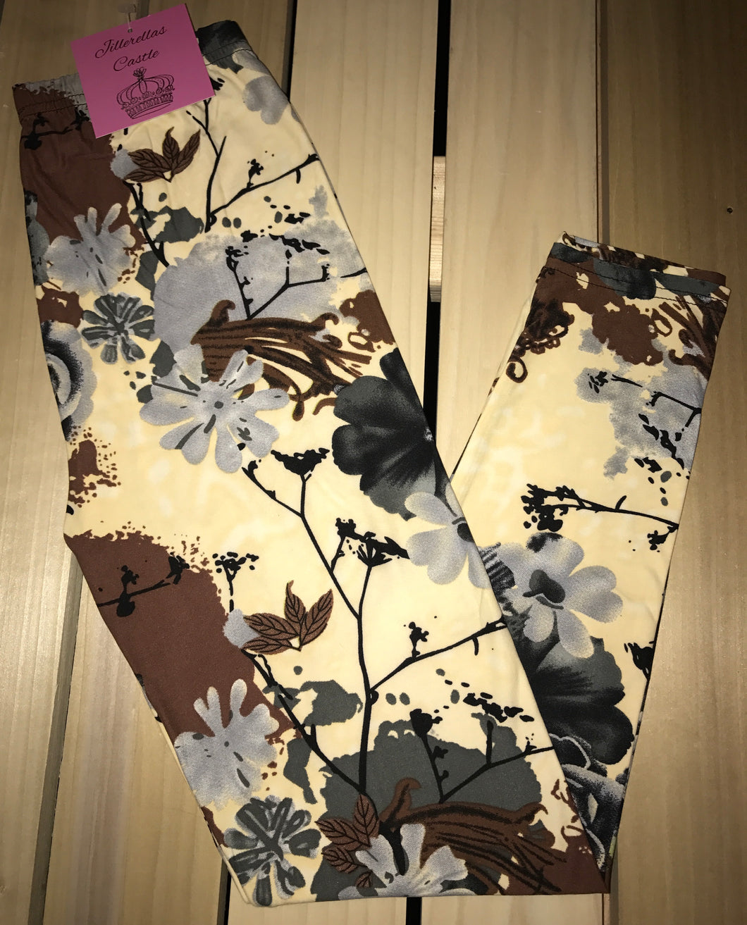 Leggings New With Tags Yellow Floral Buttery Soft One Size Fits 0-14