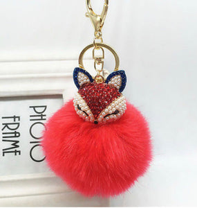 Key Chain Purse Charm New With Tags Red Faux Fur