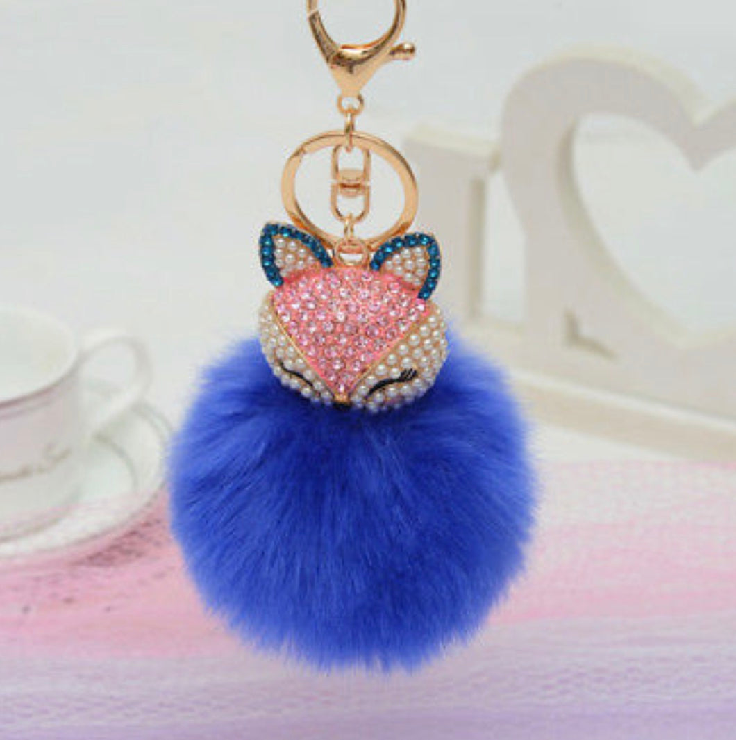 Key Chain Purse Charm New With Tags Blue Faux Fur