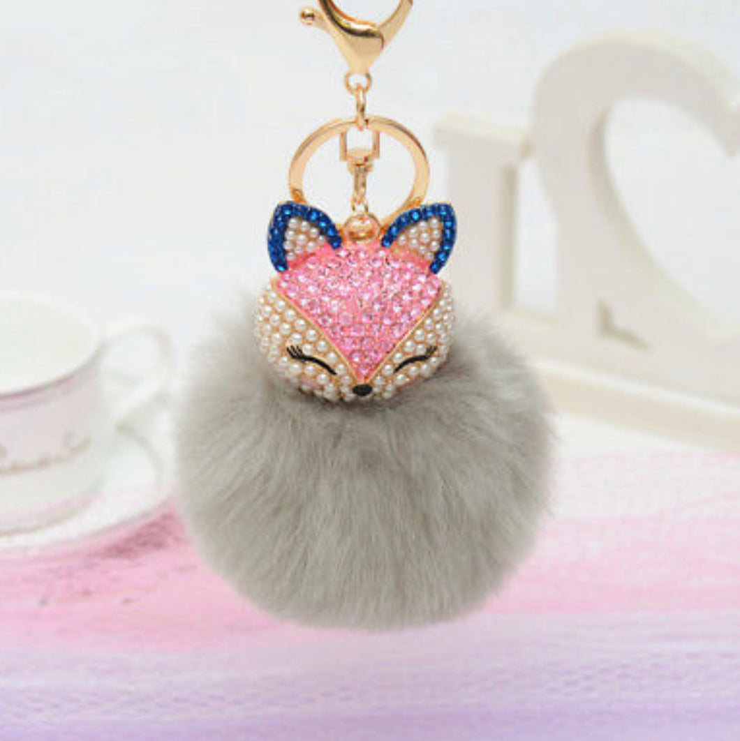 Key Chain Purse Charm New With Tags Grey Faux Fur
