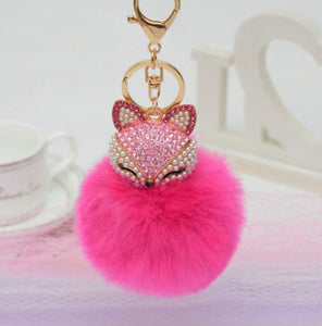Key Chain Purse Charm New With Tags Hot Pink Faux Fur