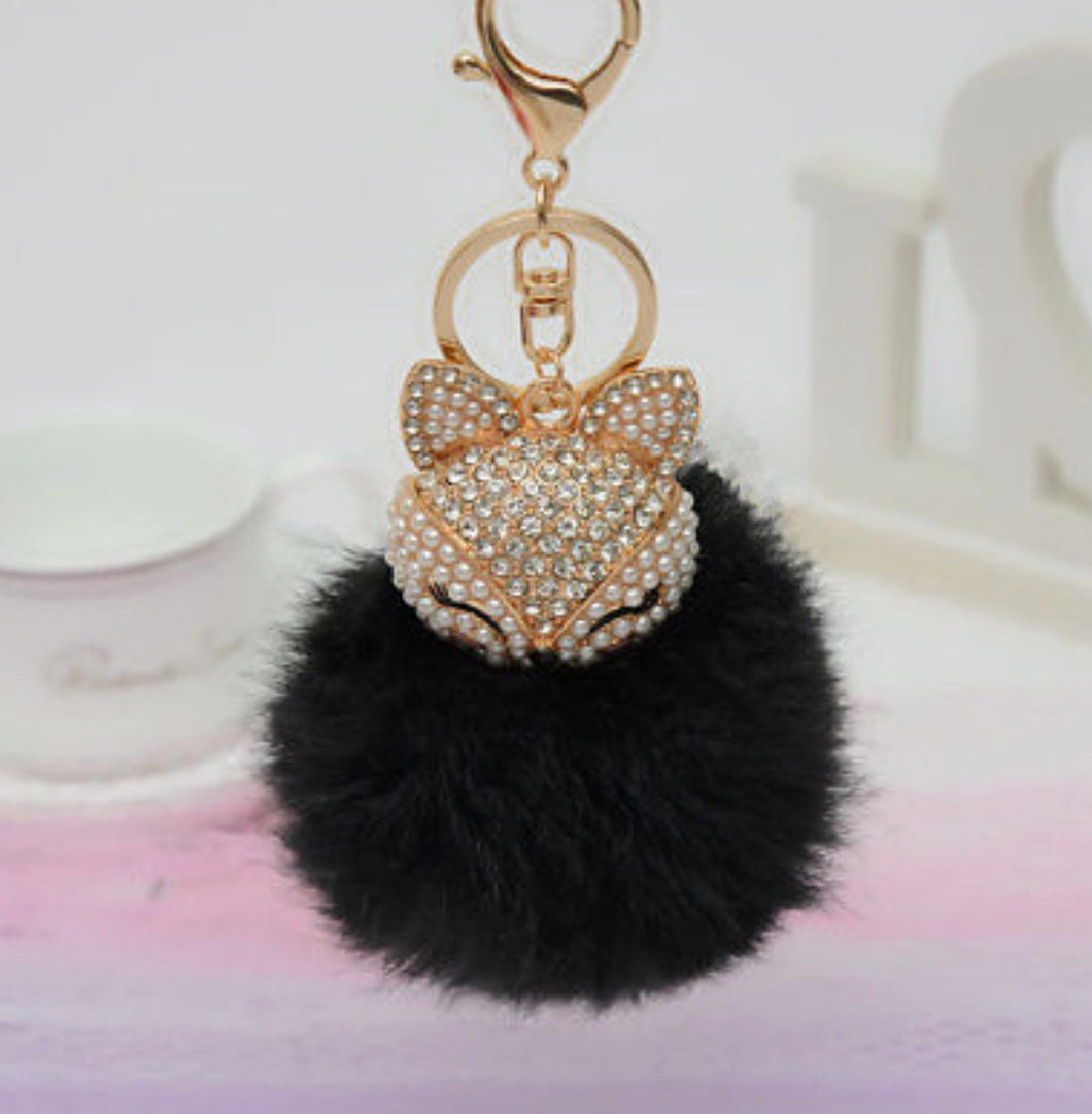 Key Chain Purse Charm New With Tags Black Faux Fur