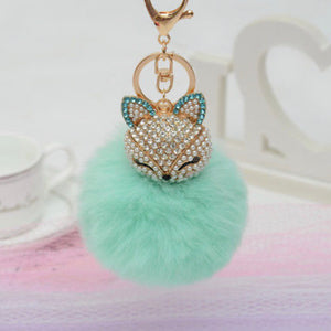 Key Chain Purse Charm New With Tags Teal Faux Fur