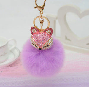 Key Chain Purse Charm New With Tags Lavender Faux Fur