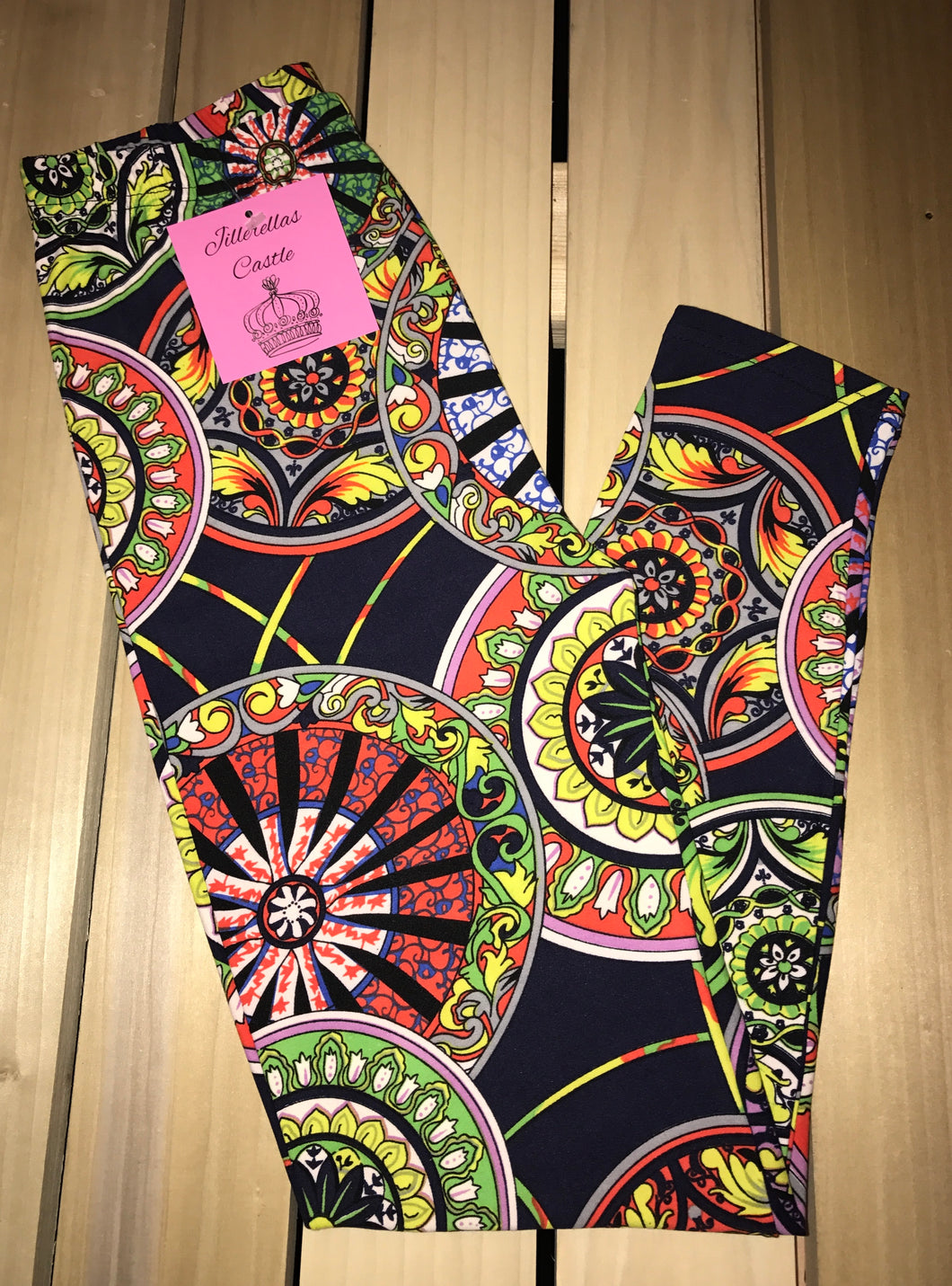 Leggings New With Tags Multi Color Medallion Motif Buttery Soft One Size Fits 0-14