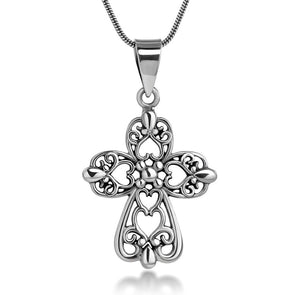 Sterling Silver Cross with Heart Pendant Necklace