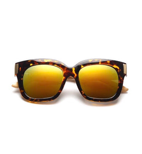 Chocolate Leopard Wood Mirror Lense Sunglasses