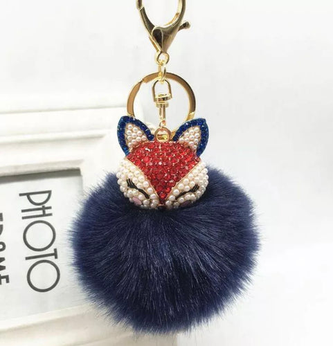 Key Chain Purse Charm New With Tags Navy Blue Faux Fur