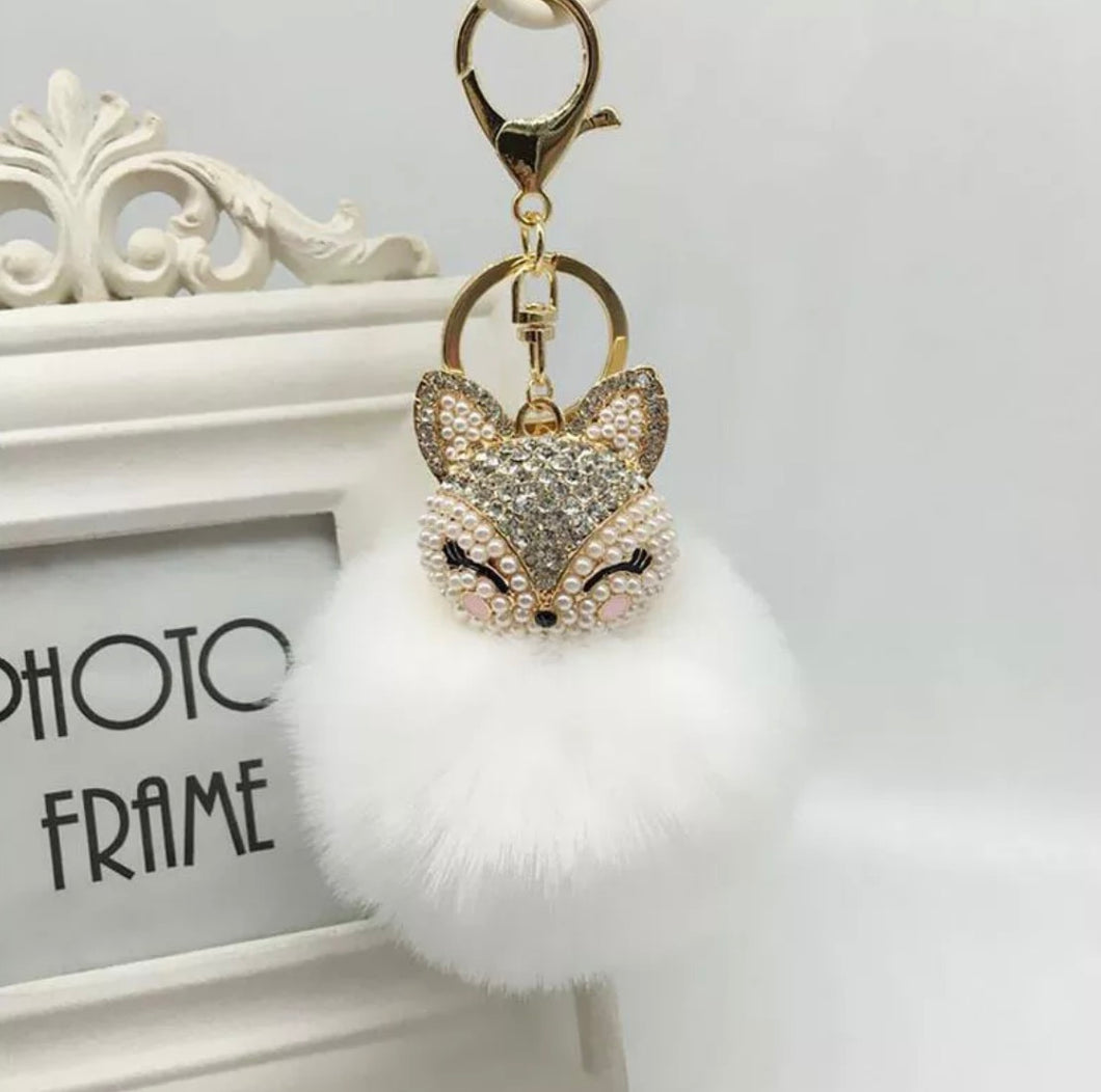 Key Chain Purse Charm New With Tags White Faux Fur