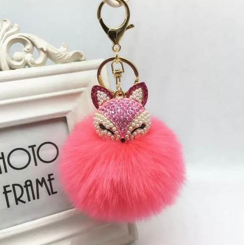 Key Chain Purse Charm New With Tags Pink Coral Faux Fur