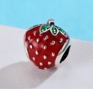 Strawberry Solid Sterling Silver Bead Charm