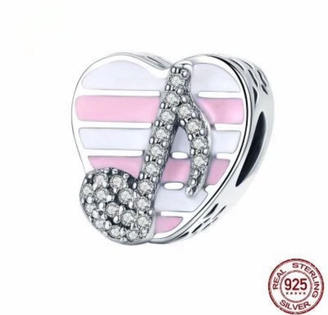 Pink White Stripe Music Note Solid Sterling Silver Bead Charm
