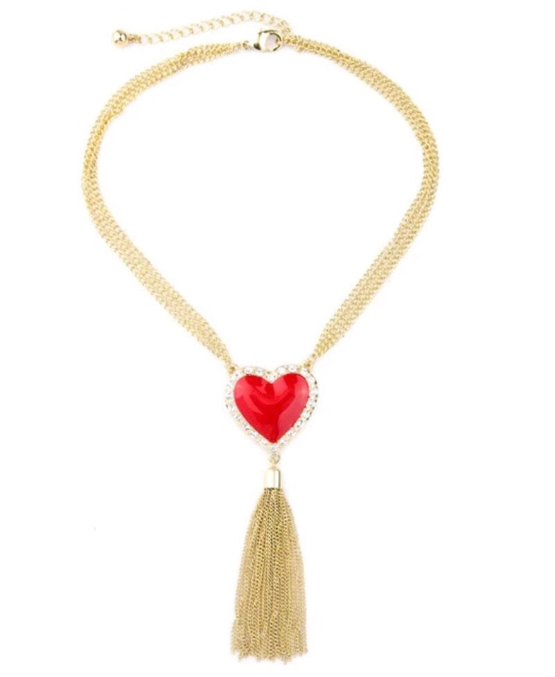 Swarovski French Love Tassel Necklace