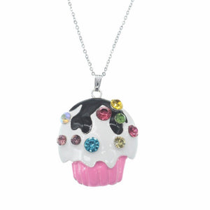 Pink Cupcake Sterling Silver Chain Necklace