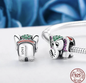Elephant Solid Sterling Silver Bead Charm