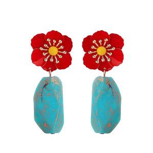 Country French Blooming Pansy Earrings