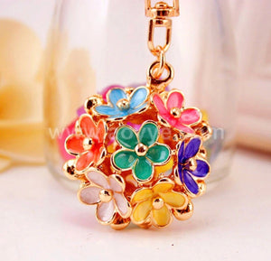 Mixed Floral Bouquet Purse Charm Keychain