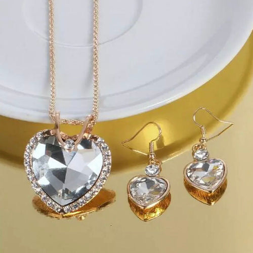 Australian Crystal Heart Necklace Earrings Set
