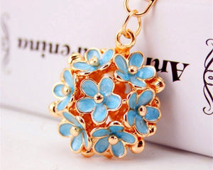 Blue Floral Bouquet Purse Charm Keychain
