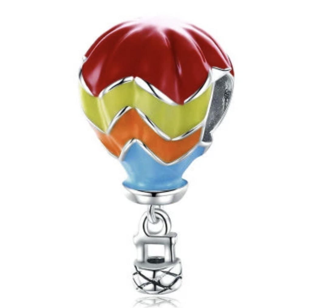 Hot Air Balloon Solid Sterling Silver Bead Charm