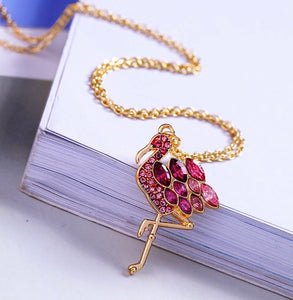 Luxe Pink Flamingo Necklace Gold Plated