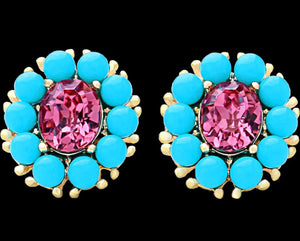 Swarovski French Blue And Pink Earrings
