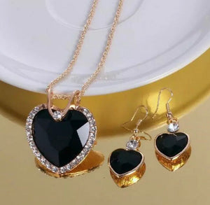Australian Crystal Ebony Heart Necklace Earrings Set