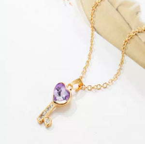 Australian Crystal Purple Key To My Heart Necklace