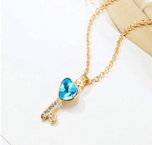 Australian Crystal Blue Key To My Heart Necklace
