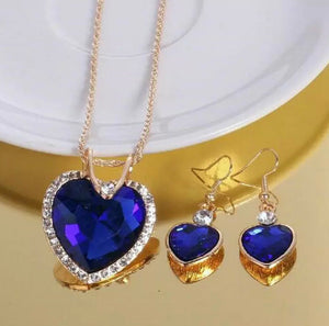 Australian Crystal Blue Heart Necklace Earrings Set