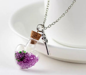 Floating Australian Crystals Heart Locket Necklace
