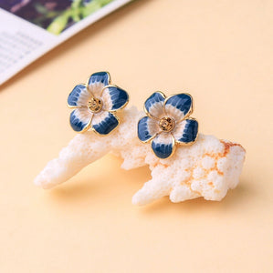 Blooming Floral Sterling Silver Post Earrings