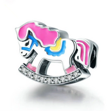 Rocking Horse Solid Sterling Silver Bead Charm