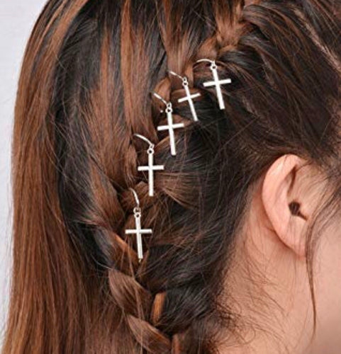 Hair Charms Silver Cross Set Of Ten