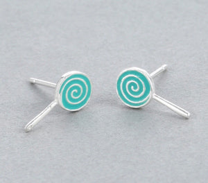 Solid Sterling Silver Blue Swirl Earrings