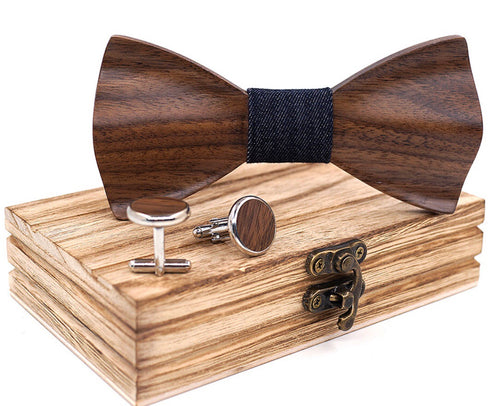 HandCarved KOA Wood Bow Tie Black Band And Cufflinks In Presentation Gift Box