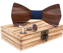 HandCarved KOA Wood Bow Tie and Matching Cufflinks Set in Stainless Steel Blue Band