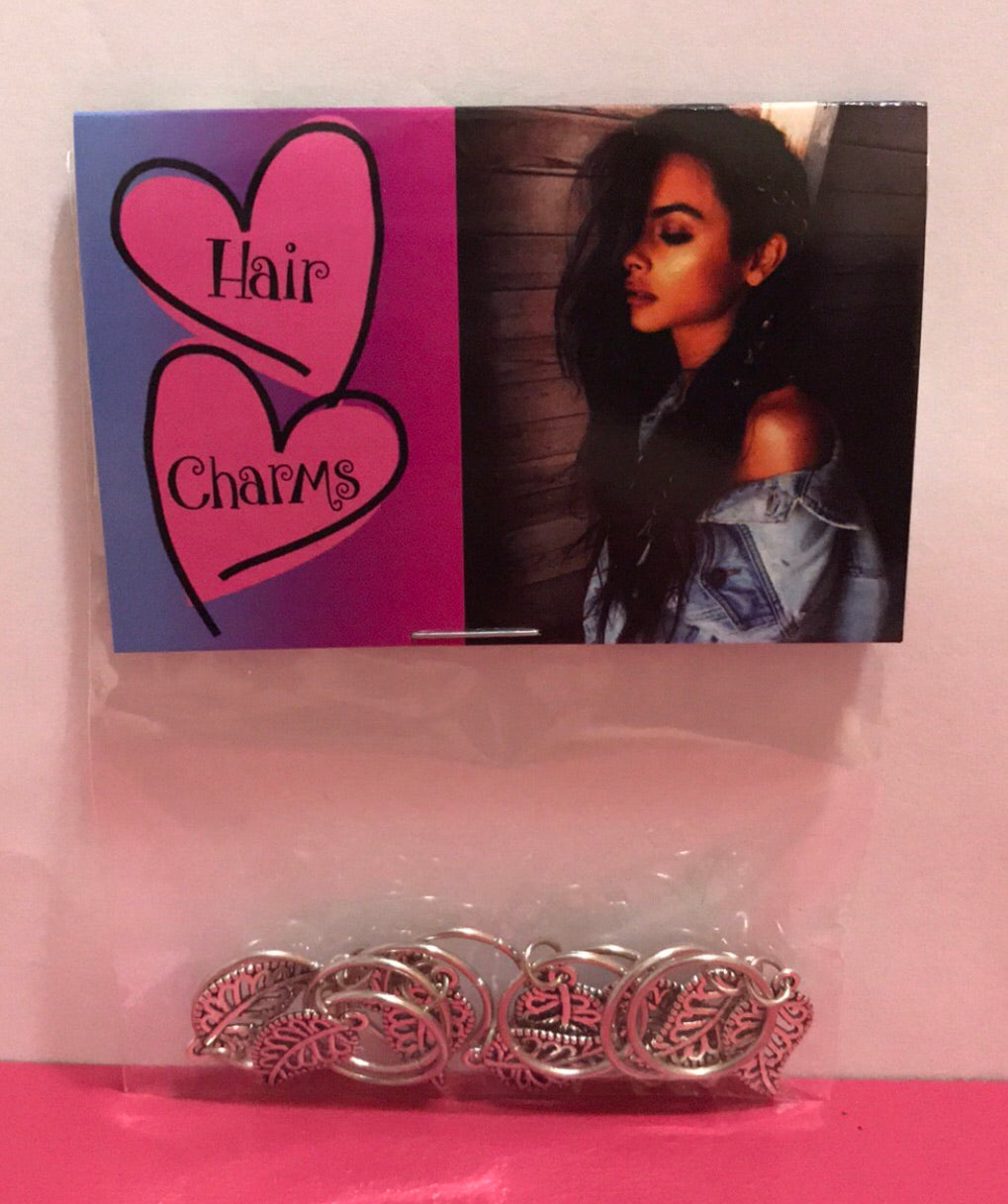 Hair Charms Silver Leaf Set Of 10