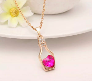 Australian Crystal Pink Love Hope Necklace Gold Plated