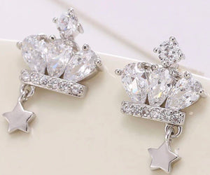 Swarovski Crowned Star Sterling Silver Earrings