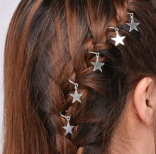 Hair Charms Silver Stars Set Of 10