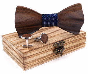 HandCarved KOA Wood Bow Tie And Matching Cufflinks Set in Stainless Steel Blue Dot Band