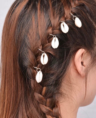 Hair Charms Shell Silver Set Of 10