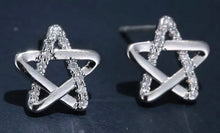Solid Sterling Silver Shimmering Star Earrings