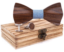 HandCarved KOA Wood Bow Tie Light Blue Band Set in Stainless Steel