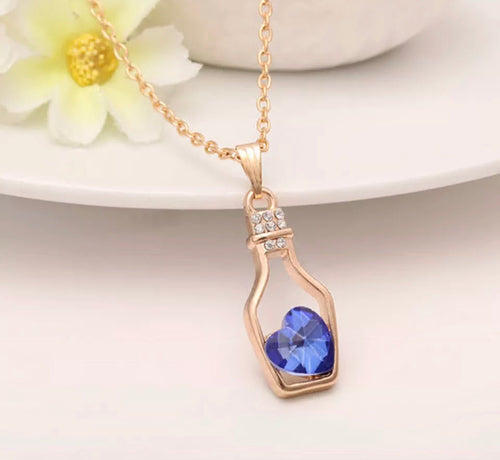 Australian Crystal Blue Love Hope Necklace Gold Plated