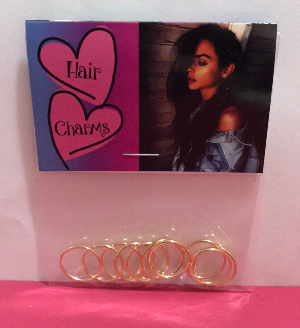 Hair Charms Rings Gold Plated Set Of 10