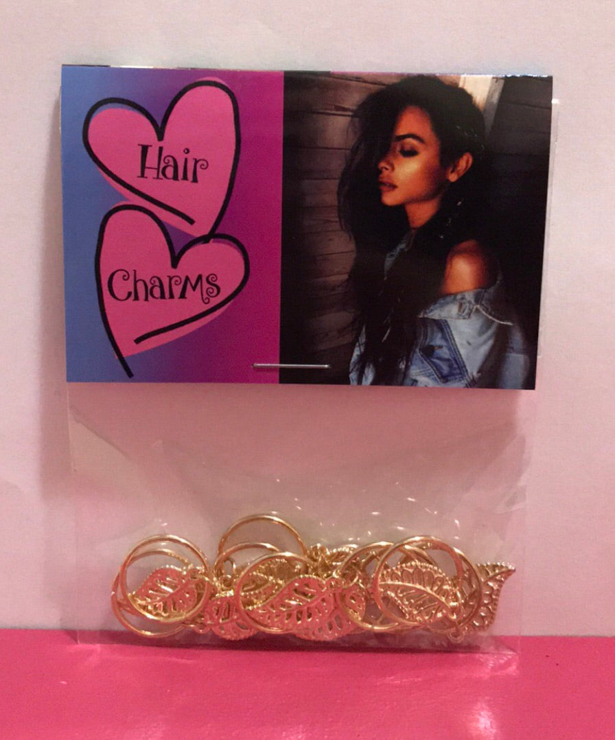 Hair Charms Leaf Gold Plated Set Of 10 In Factory Sealed Package
