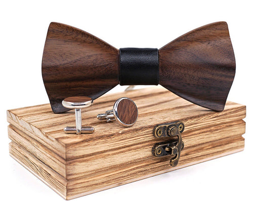 HandCarved KOA Wood Bow Tie Black Leather Band And Matching Cufflinks Set in Stainless Steel Blue Dot Band