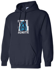 Load image into Gallery viewer, Ignite Hoodie Flame Logo Ignite Blue/Navy (Adult and Youth)